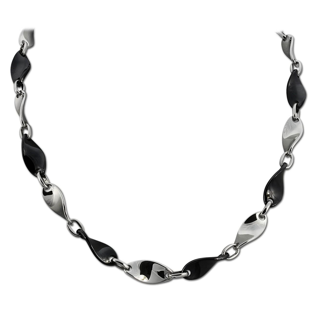 Amello Halskette Keramik Welle schwarz Damen Edelstahlschmuck ESKX08S