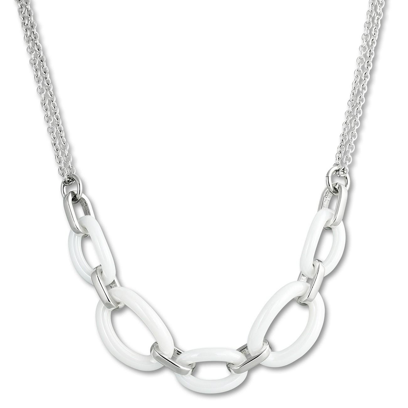 Amello Halskette Keramik Ovale weiß Damen Edelstahlschmuck ESKX16W