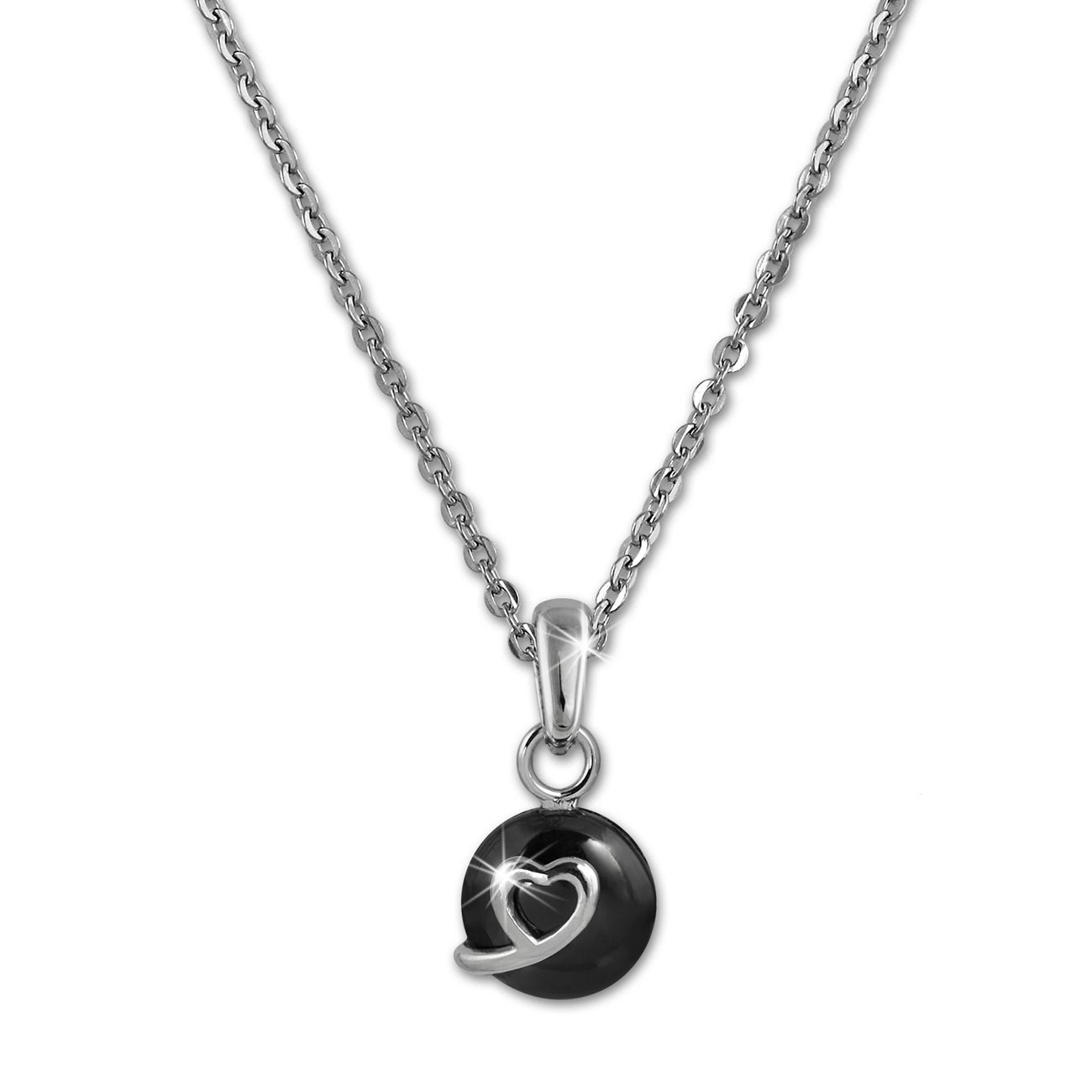 Amello Halskette Keramik Herzchen schwarz Damen Edelstahlschmuck ESKX34S5
