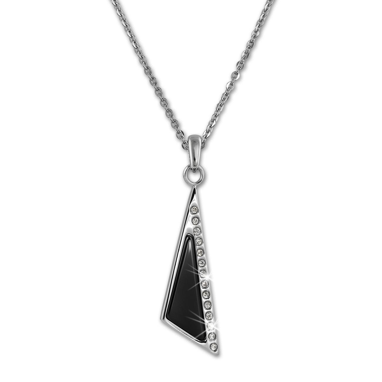 Amello Halskette Keramik Zirkonia schwarz Damen Edelstahlschmuck ESKX43S5
