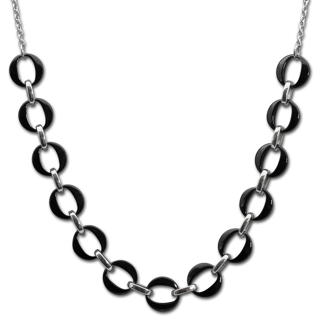 Amello Halskette Keramik Ringe schwarz Damen Edelstahlschmuck ESKX47S5