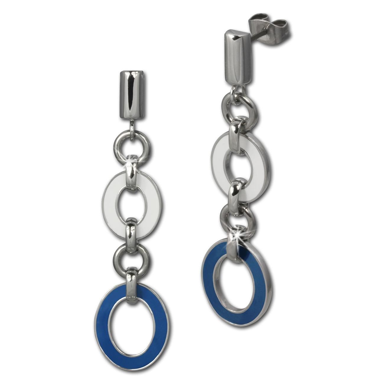 Amello Ohrstecker Oval Emaille blau/weiß Ohrringe Damen Edelstahl ESOG01B