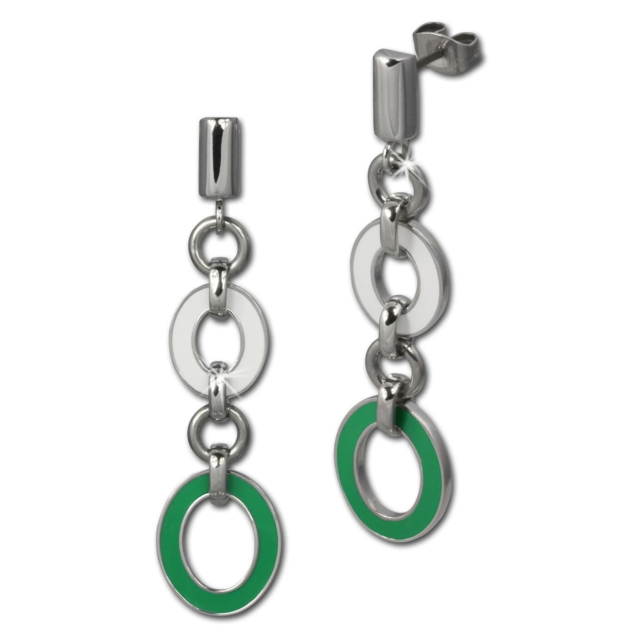 Amello Ohrstecker Oval Emaille grün/weiß Ohrringe Damen Stahl ESOG01G