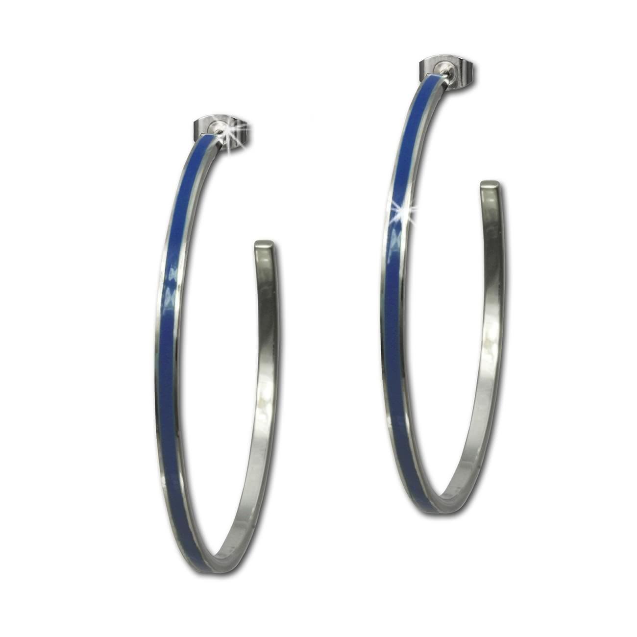 Amello Creolen Emaille blau Ohrringe Damen Edelstahl ESOG02B