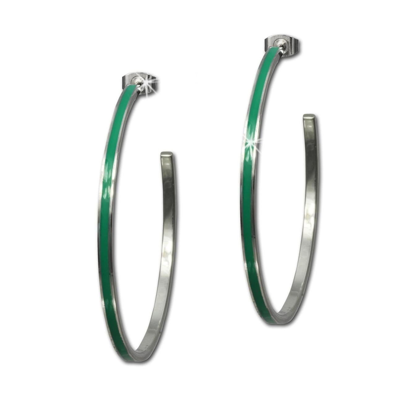 Amello Creolen Emaille grün Ohrringe Damen Edelstahl ESOG02G