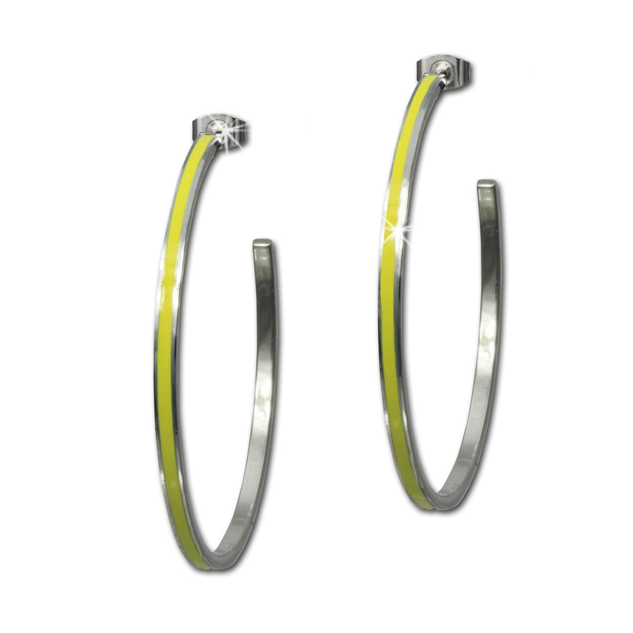 Amello Creolen Emaille gelb Ohrringe Damen Edelstahl ESOG02Y