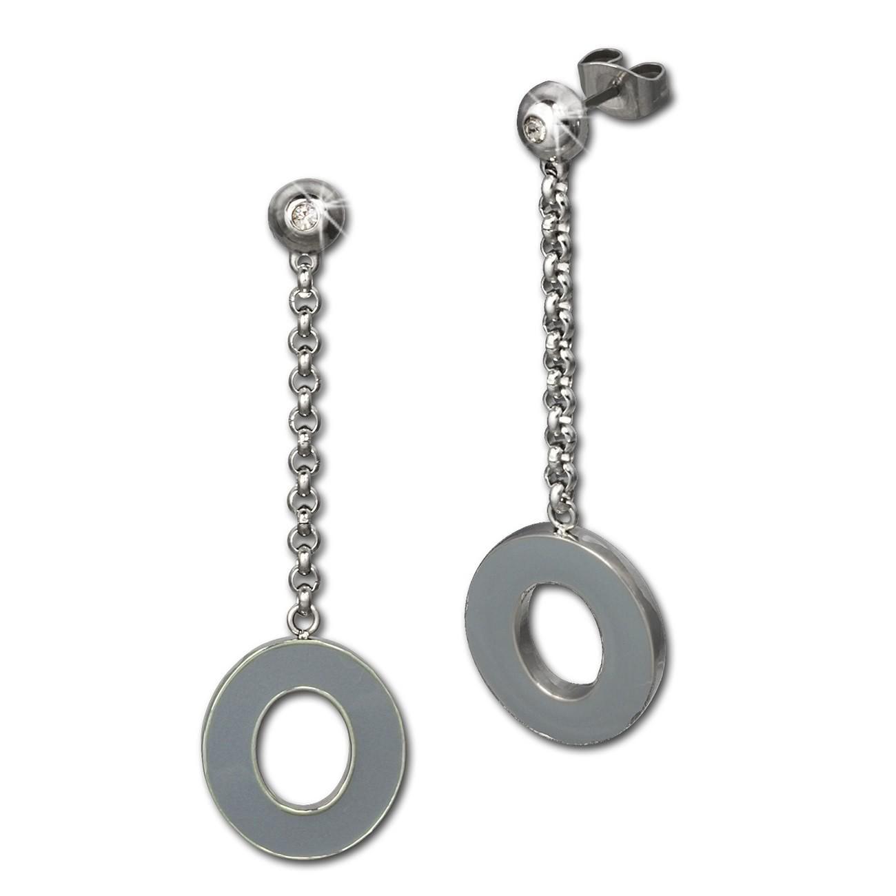 Amello Ohrstecker Oval Zirkonia Emaille grau Ohrringe Damen Stahl ESOG03K