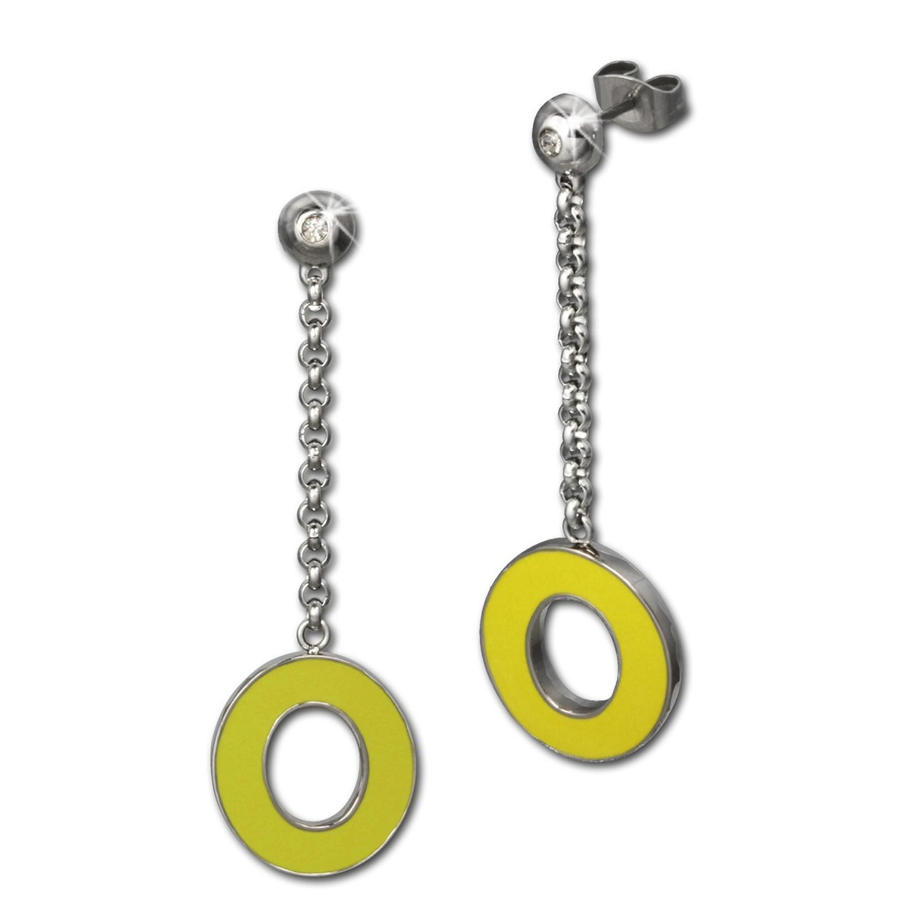 Amello Ohrstecker Oval Zirkonia Emaille gelb Ohrringe Damen Stahl ESOG03Y