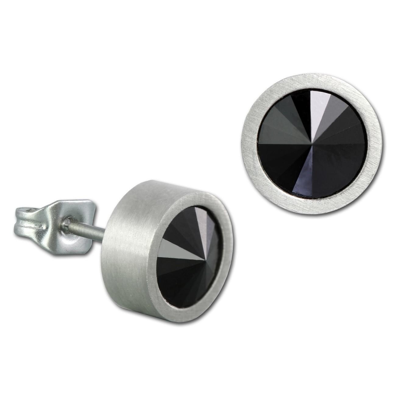 Amello Edelstahl Ohrstecker Swarovski Elements schwarz Ohrring ESOS03S