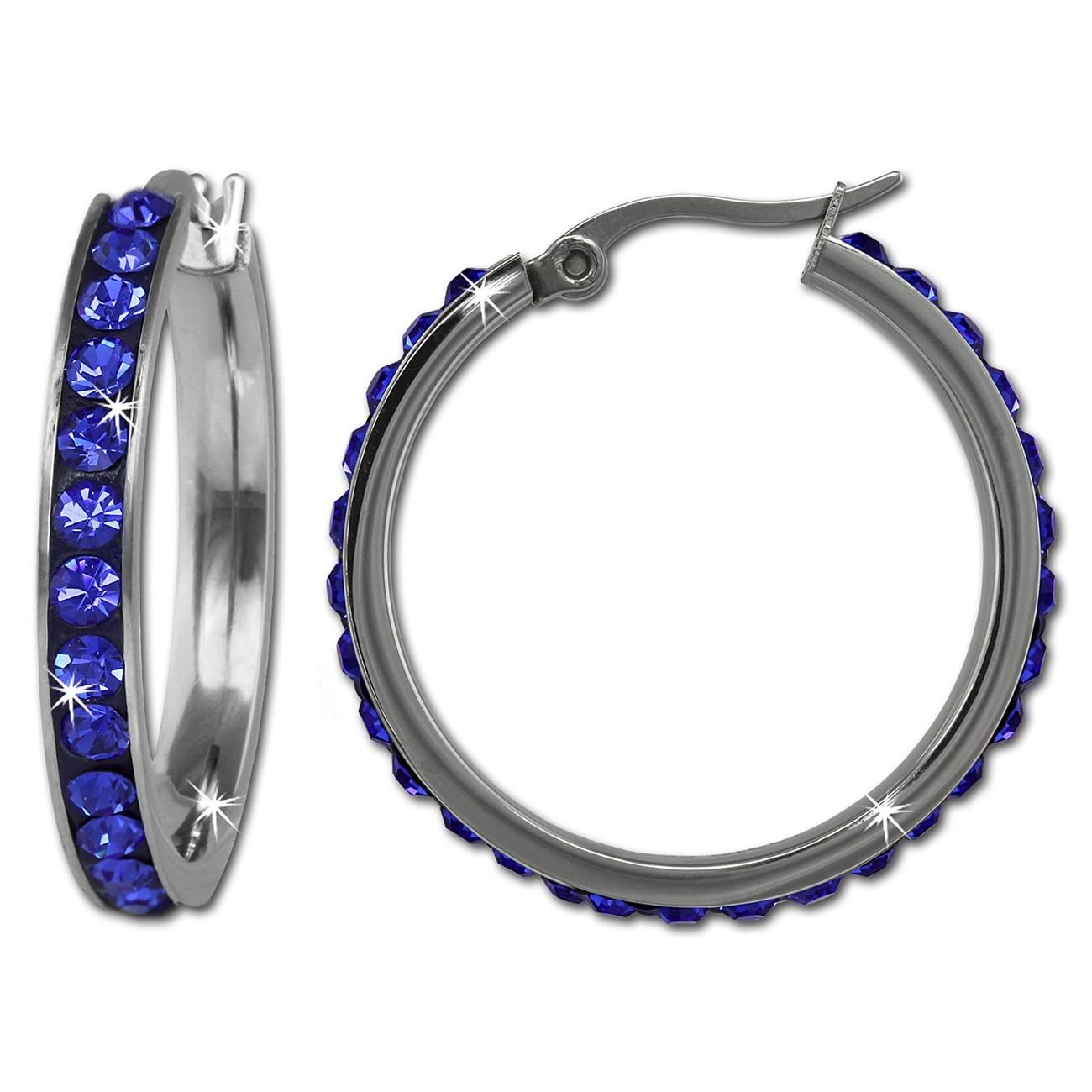 Amello Creole 30mm Edelstahl Swarovski Elements blau Damen Ohrring ESOS04B