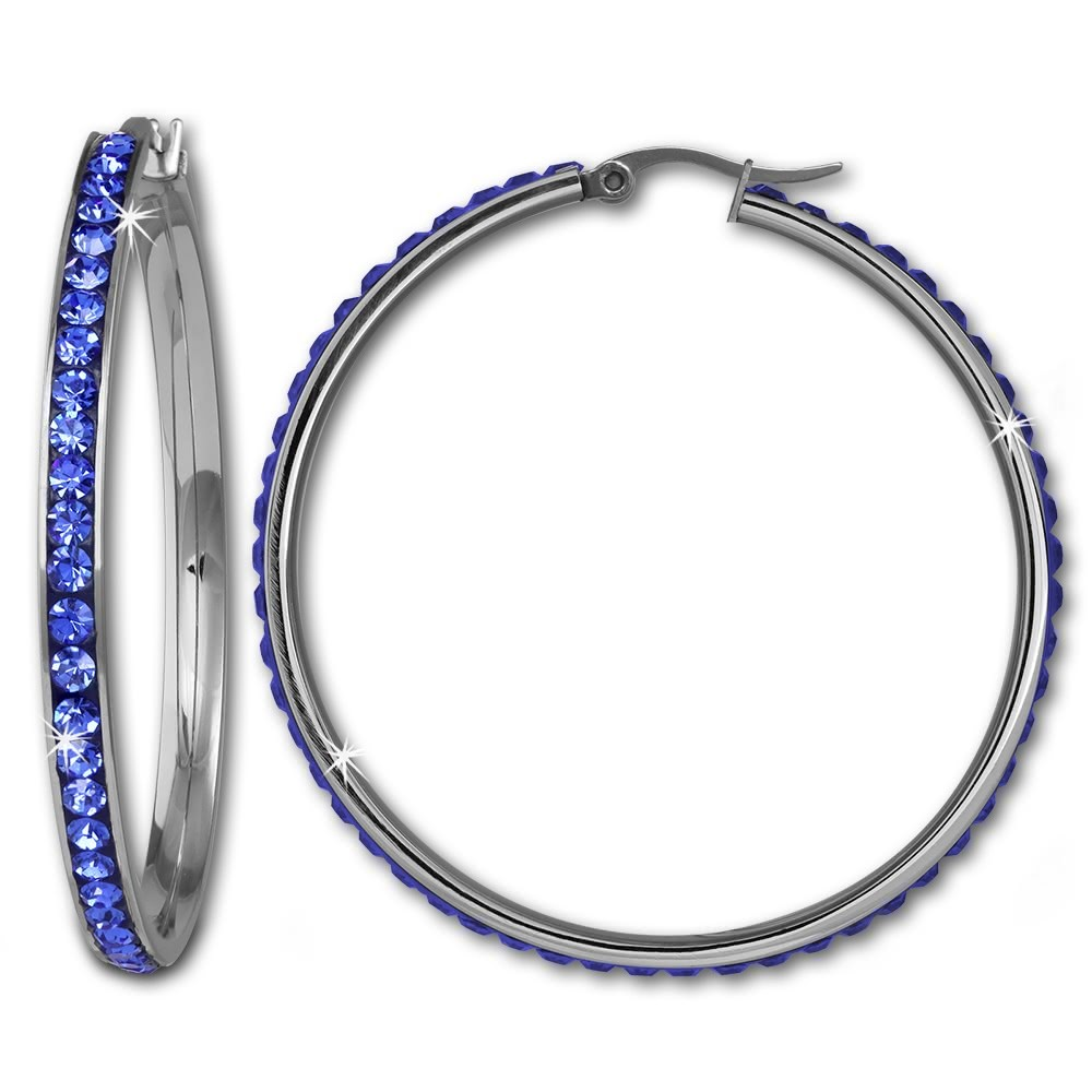 Amello Creole 50mm Edelstahl Swarovski Elements blau Damen Ohrring ESOS05B