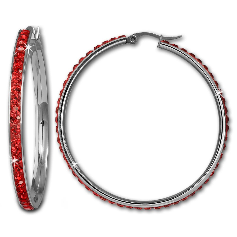Amello Creole 50mm Edelstahl Swarovski Elements rot Ohrring ESOS05R