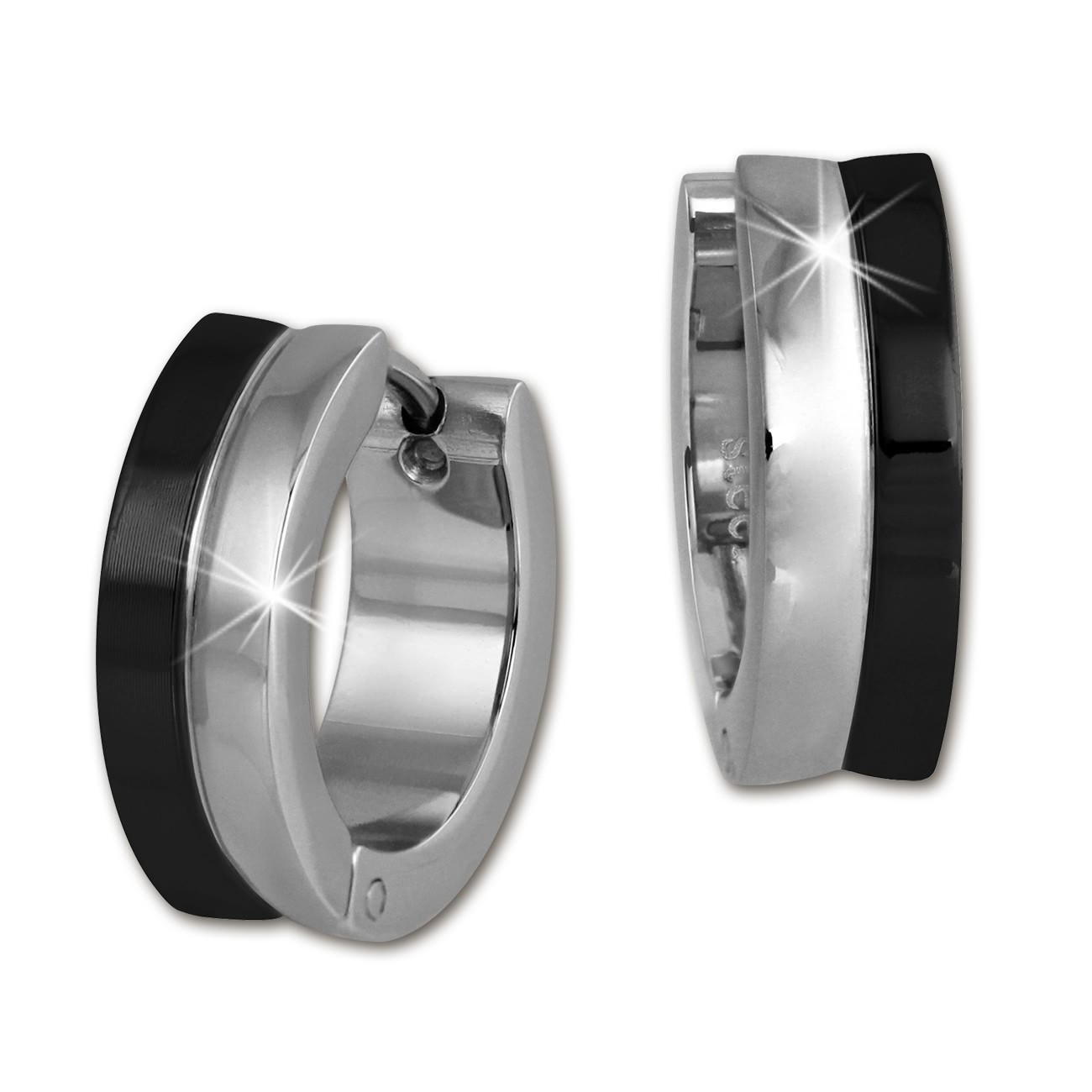 Amello Creole 16mm schwarz/glanz Edelstahl Ohrring Stainless Steel ESOS97F