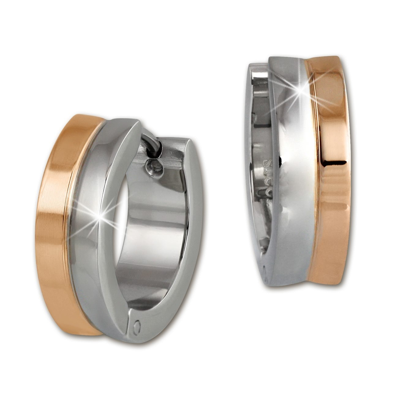 Amello Creole 16mm rose/glanz Edelstahl Ohrring Stainless Steel ESOS97T