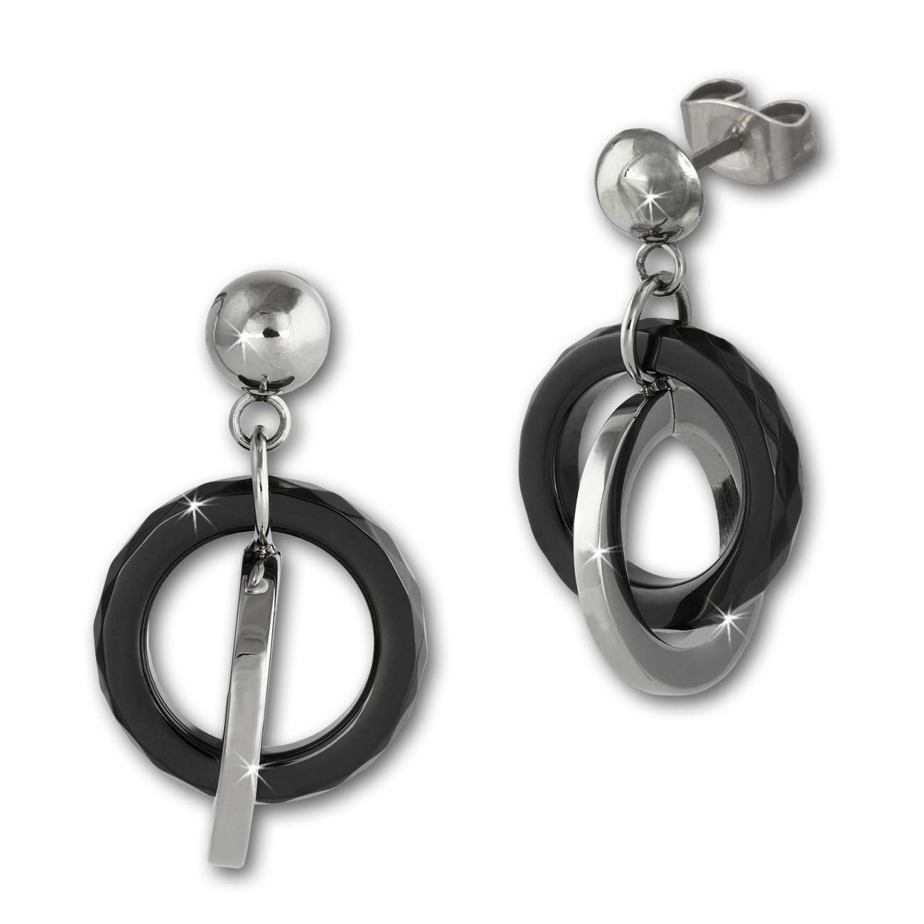 Amello Ohrringe Keramik Ringe schwarz Damen Edelstahlschmuck ESOX21S