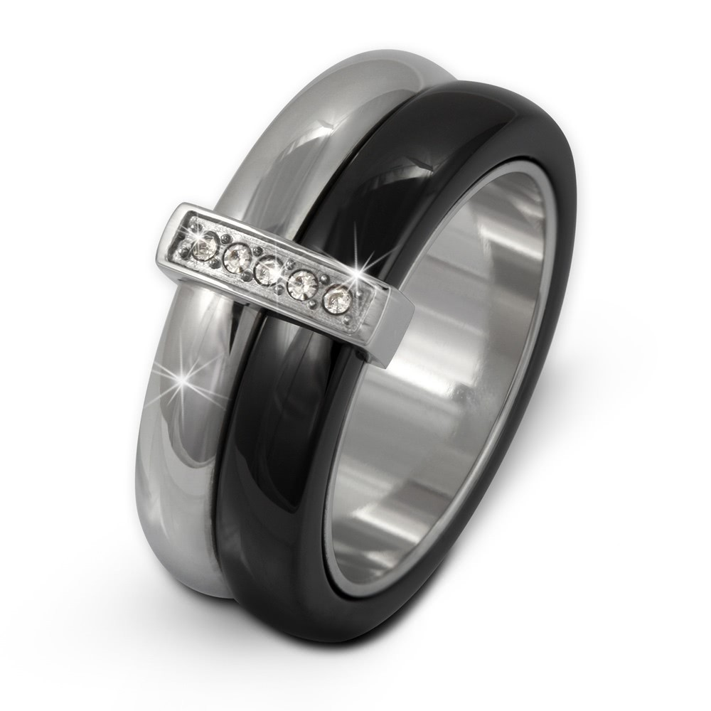 Amello Edelstahl Ring Keramik Zirkonia Gr.54 Edelstahlschmuck ESRX02S54