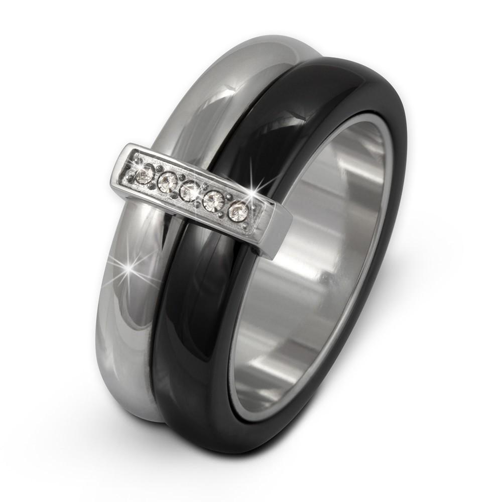 Amello Edelstahl Ring Keramik Zirkonia Gr.58 Edelstahlschmuck ESRX02S58