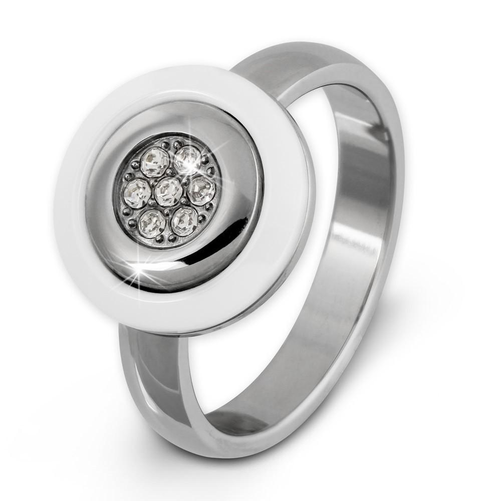 Amello Edelstahl Ring Keramik weiß Zirkonia Gr.58 Edelstahlschmuck ESRX31W58