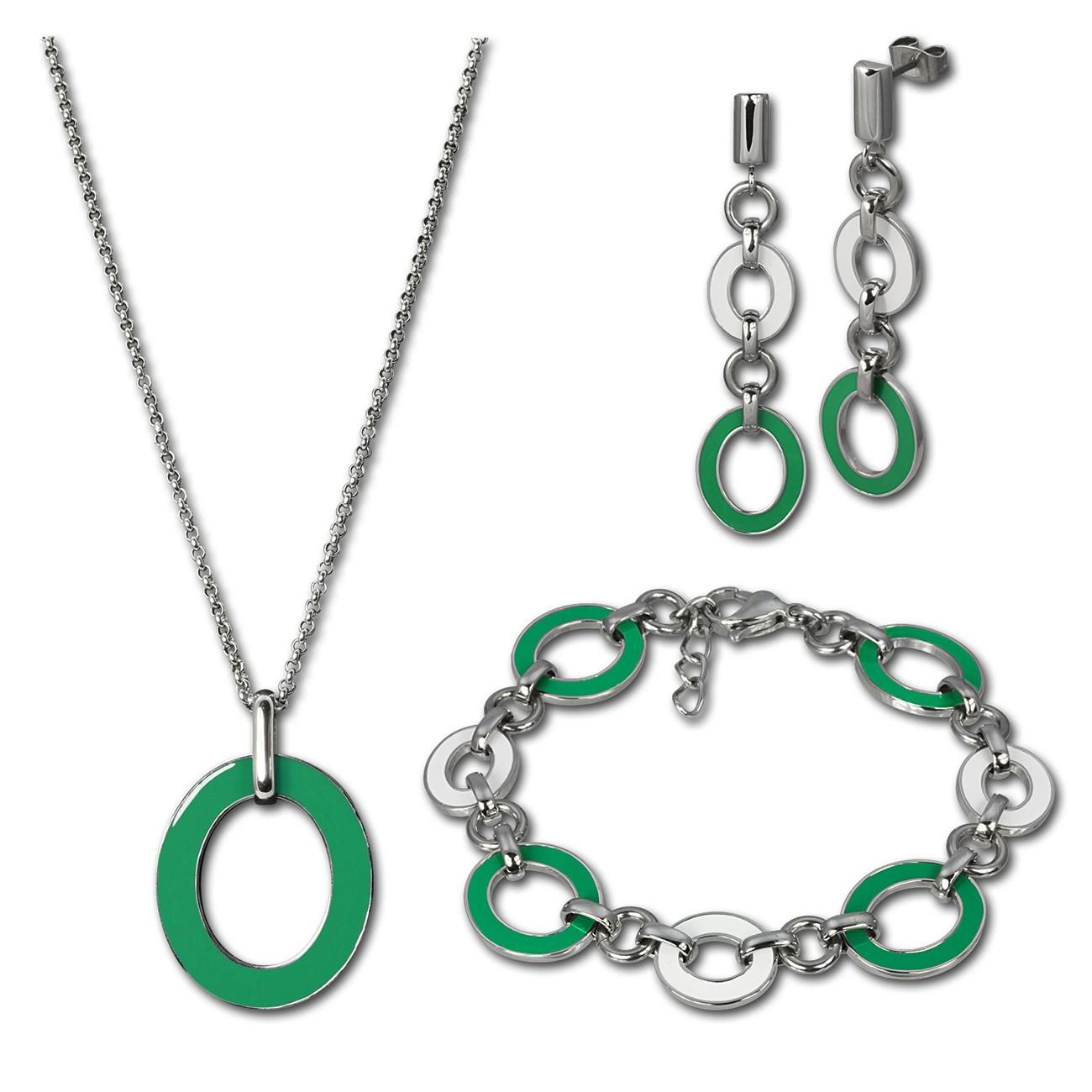 Amello Edelstahlschmuckset Emaille grün Kette, Armband, Ohrringe ESSG01G