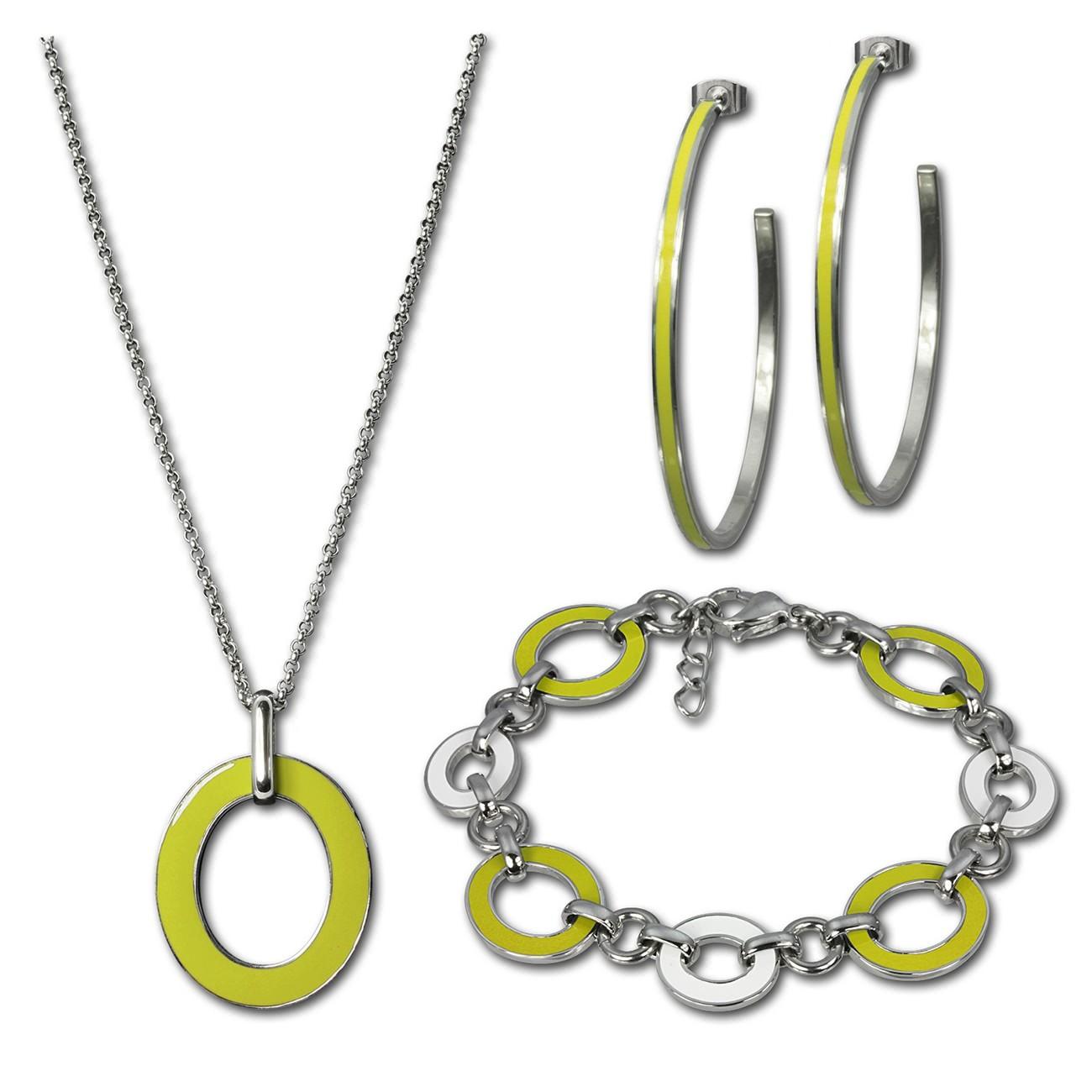 Amello Edelstahlschmuckset Emaille gelb Armband, Ohrringe, Kette ESSG02Y