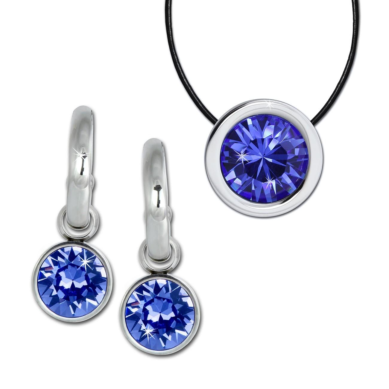 Amello Edelstahl Schmuckset Ohrring & Kette Swarovski Elements blau ESSS02B