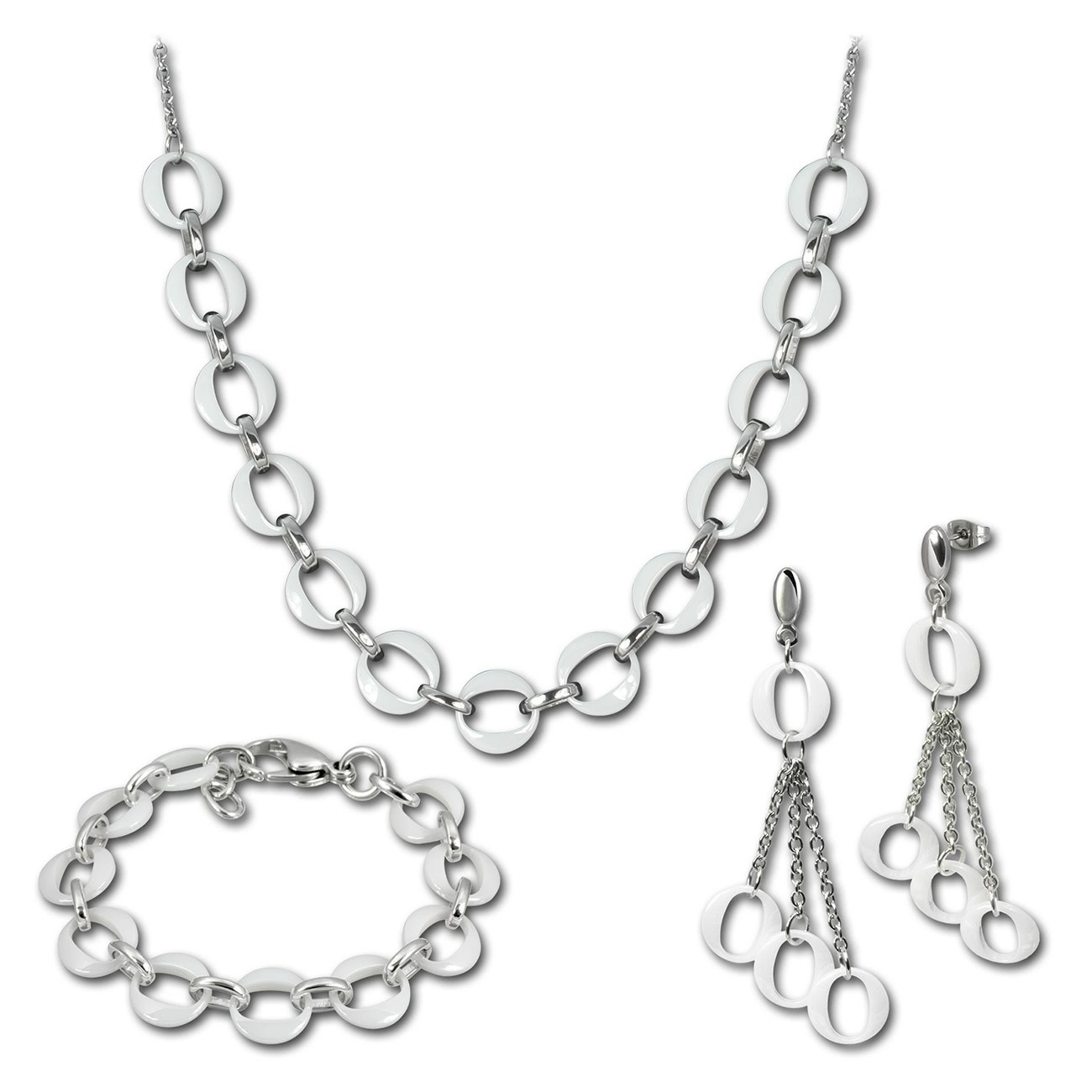 Amello Edelstahlschmuckset Keramik Kette, Armband, Ohrring ESSX02W