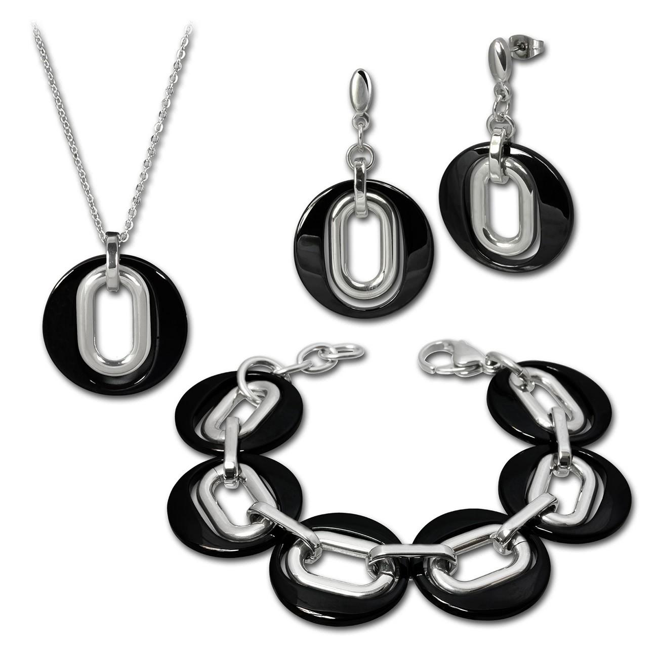 Amello Edelstahlschmuckset Keramik Kette, Armband, Ohrring ESSX03S