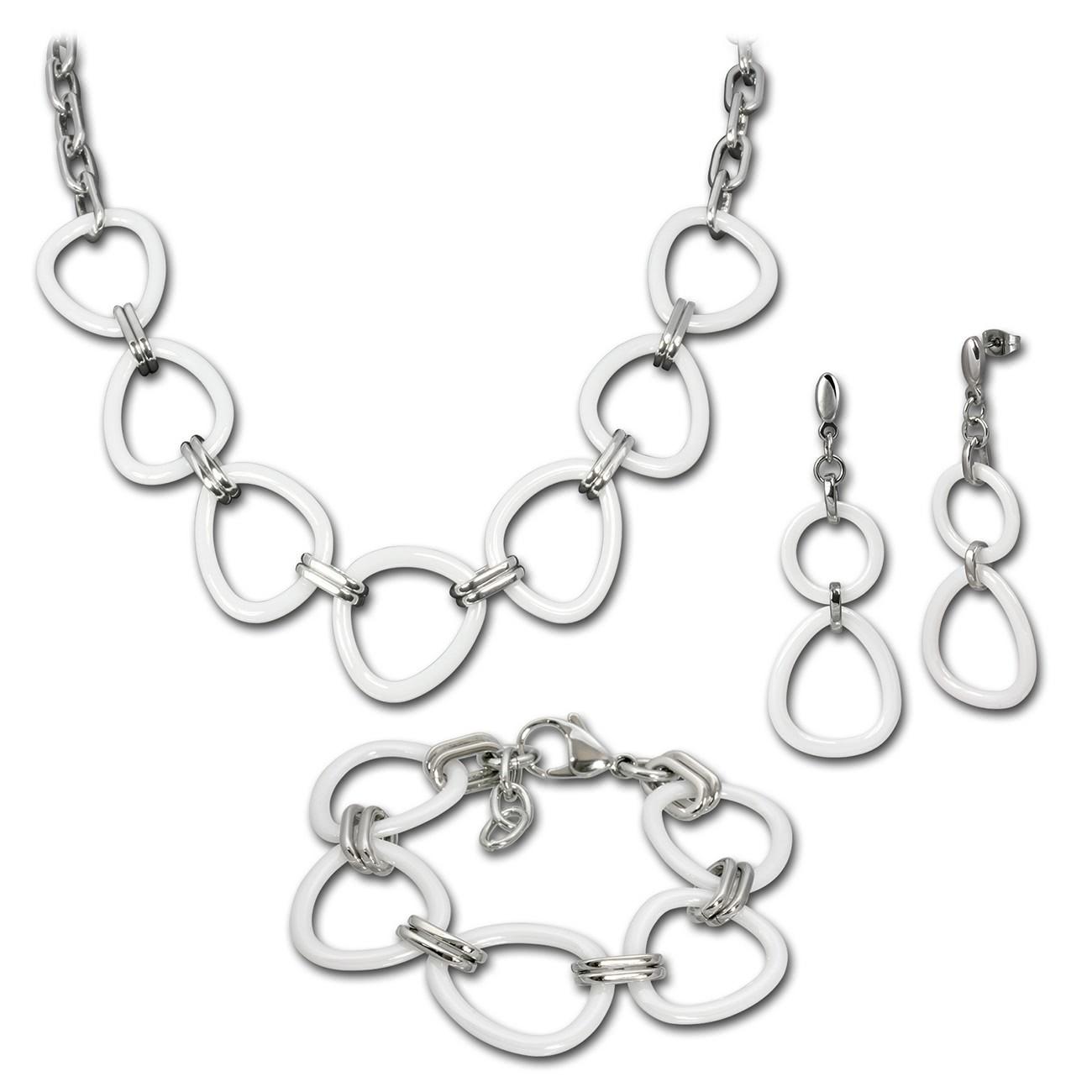 Amello Edelstahlset Keramik Dreieck Kette, Armband, Ohrring ESSX07W