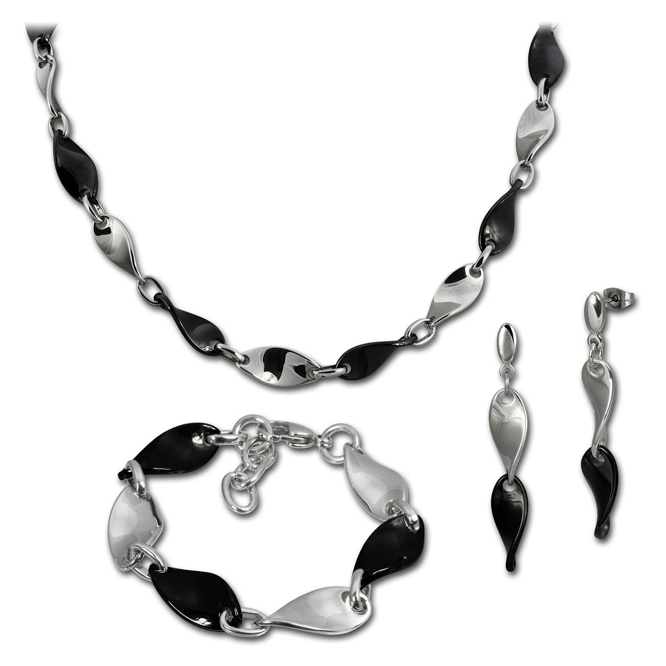 Amello Edelstahlset Keramik Welle Kette, Armband, Ohrring ESSX08S