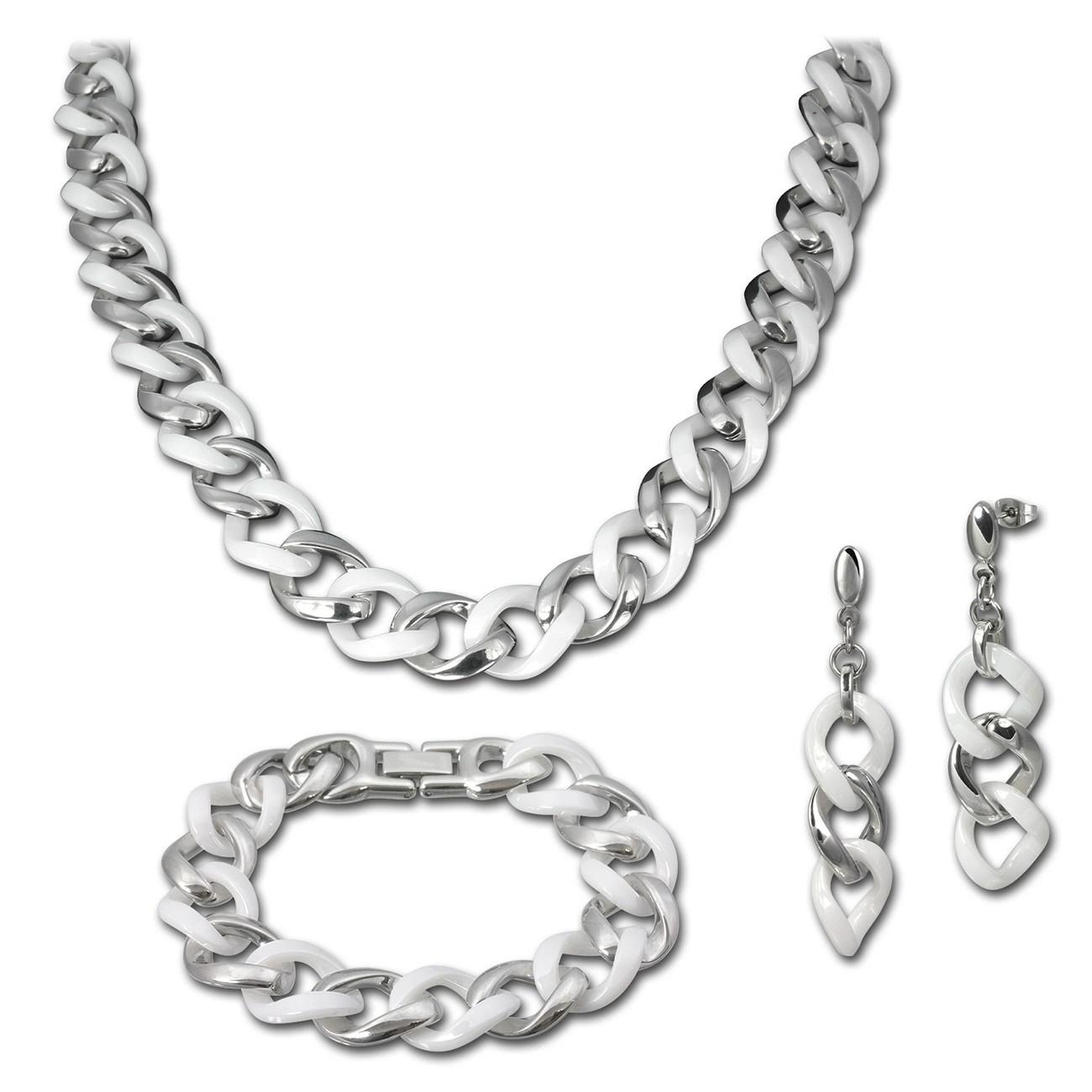 Amello Edelstahlschmuckset Keramik Kette, Armband, Ohrring ESSX10W