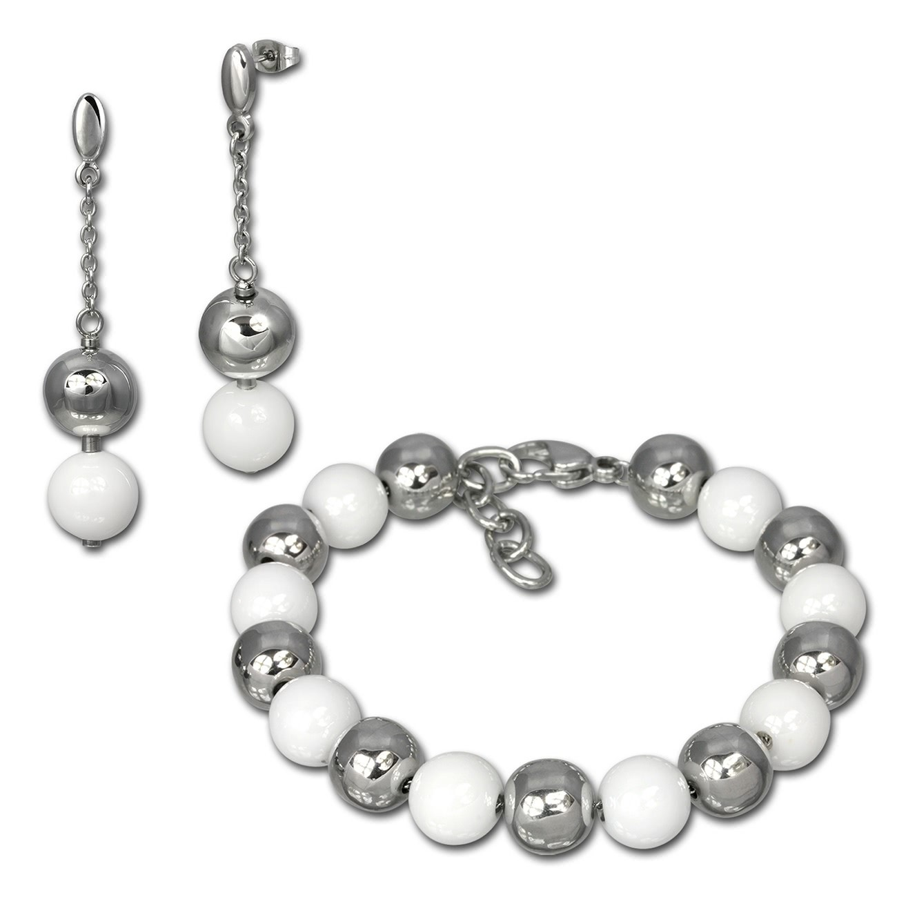 Amello Edelstahlschmuckset Keramik Kugel Armband, Ohrring ESSX12W