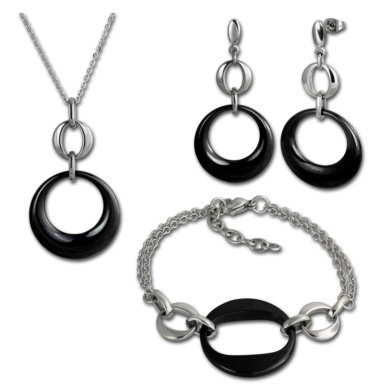 Amello Edelstahlschmuckset Round Keramik Kette, Armband, Ohrring ESSX13S