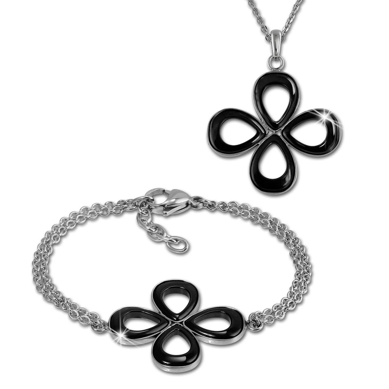 Amello Edelstahlschmuckset Keramik Blume Kette und Armband ESSX28S