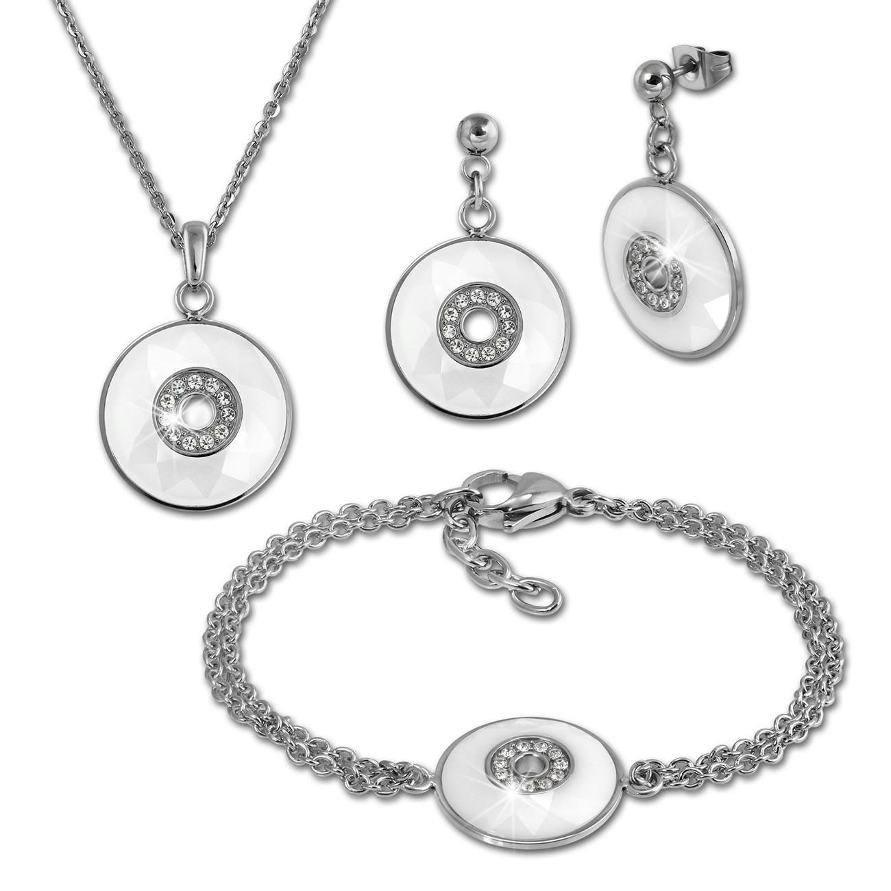 Amello Edelstahlschmuckset Keramik Rund Zirkonia Kette, Armband, Ohrring ESSX29W