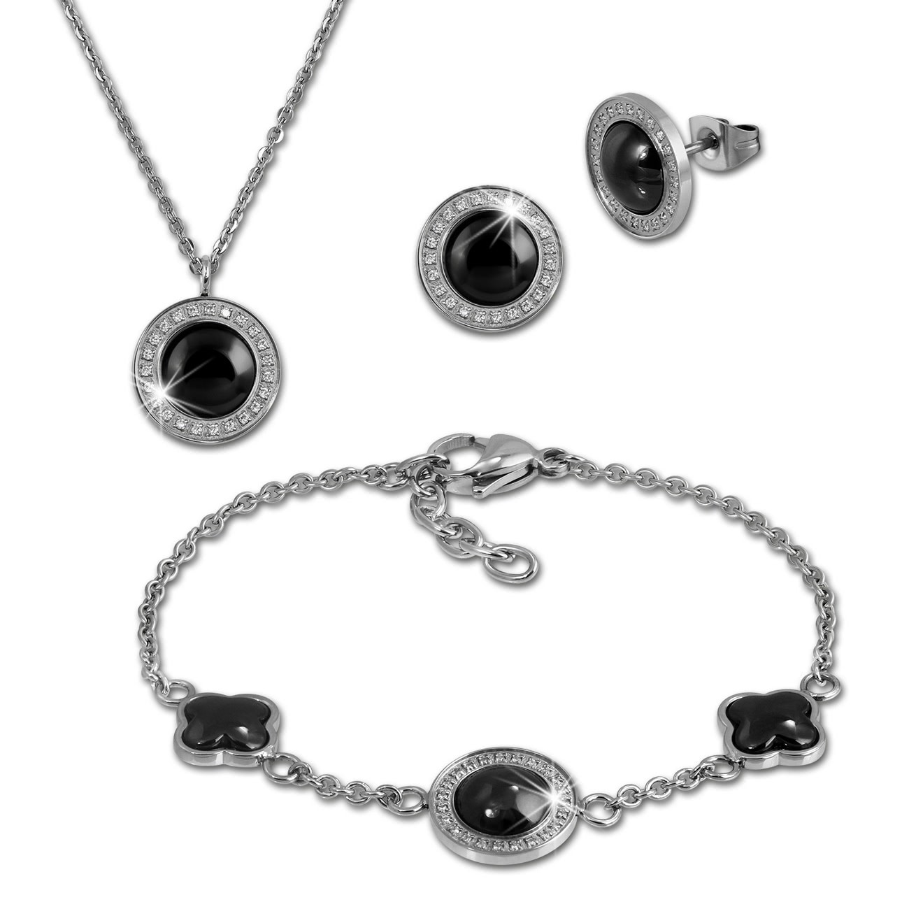 Amello Edelstahlschmuckset Keramik Rund Zirkonia Kette, Armband, Ohrring ESSX30S