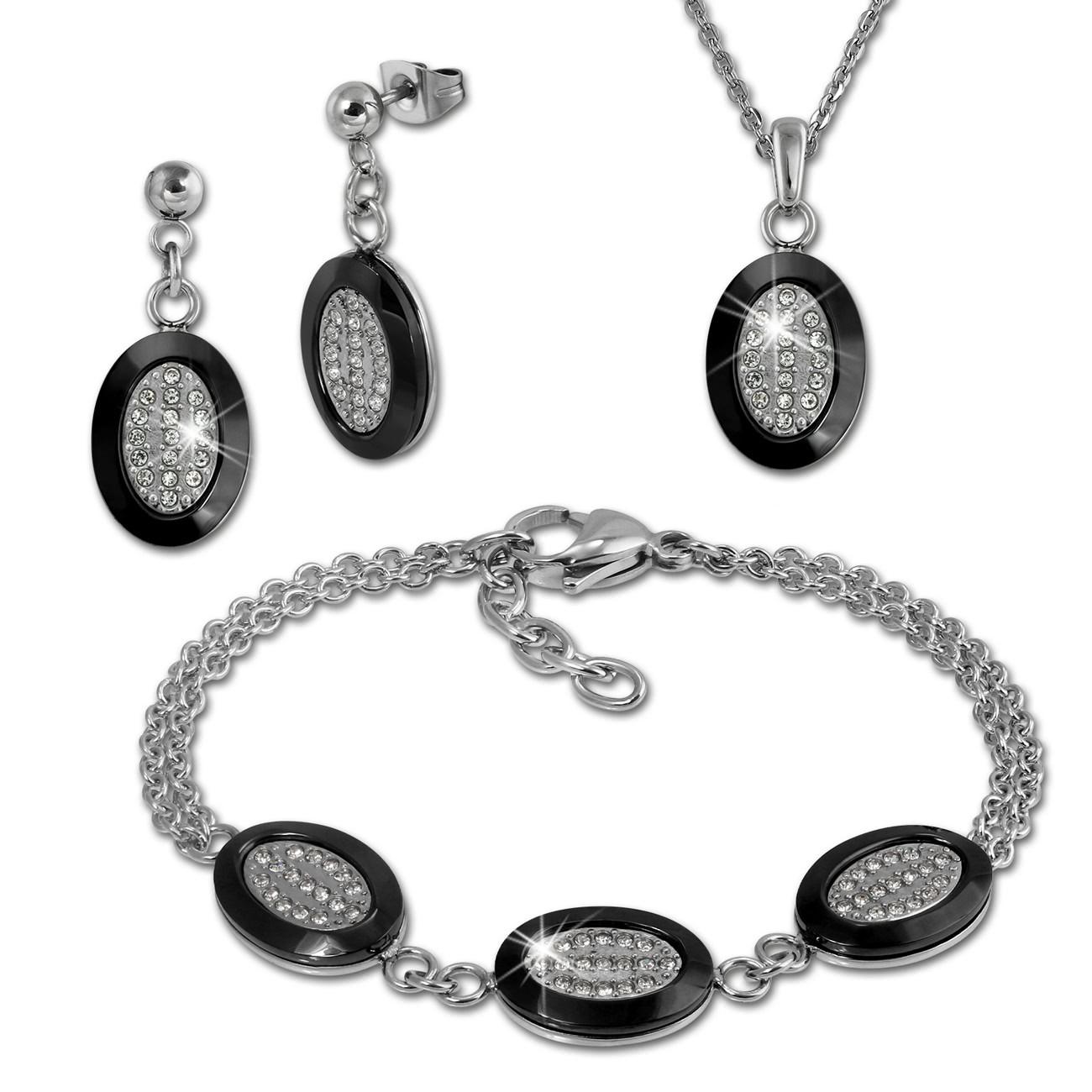 Amello Edelstahlschmuckset Keramik Rund Zirkonia Kette, Armband, Ohrring ESSX32S