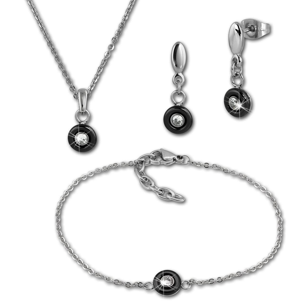 Amello Edelstahlschmuckset Keramik Zirkonia Kette, Armband, Ohrring ESSX35S