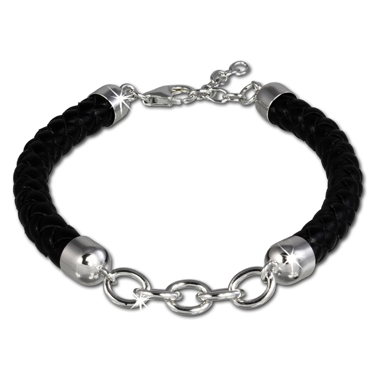 SilberDream Lederarmband schwarz für Charms 925 Silber Armband FC0032