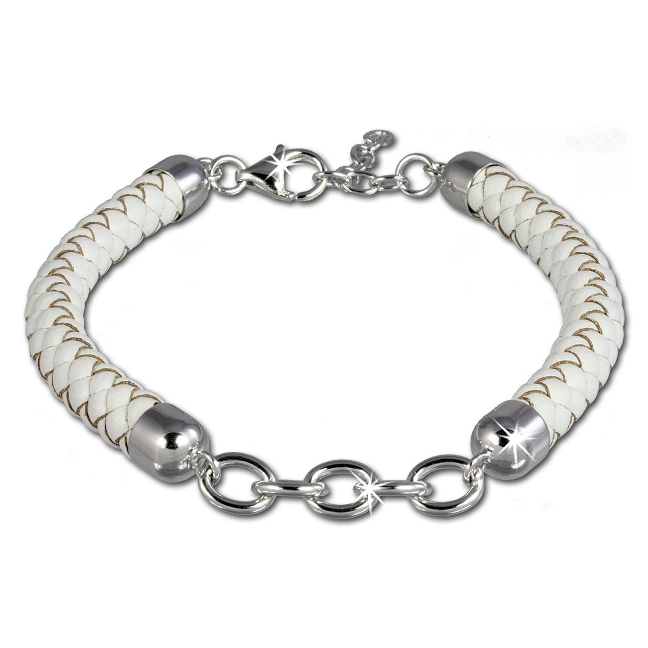 SilberDream Lederarmband weiß für Charms 925er Silber Armband FC0033W