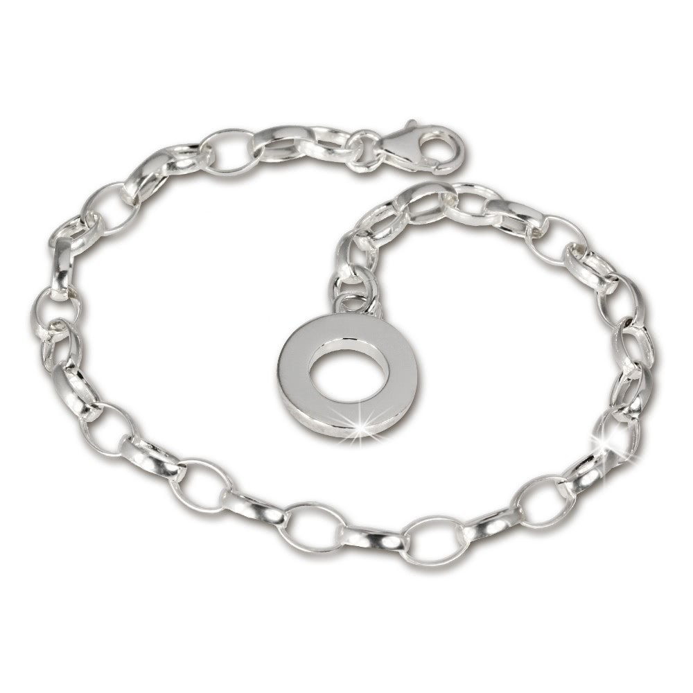 SilberDream Armband mit Plakette 925 Silber Charm Bettelarmband 19cm FC0702