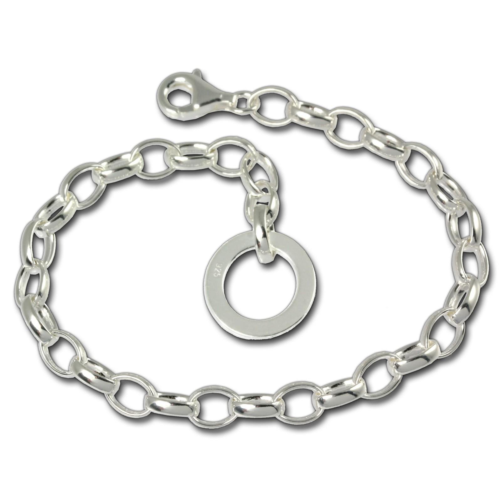SilberDream Armband mit Plakette 925 Silber Charm Bettelarmband 20cm FC0703