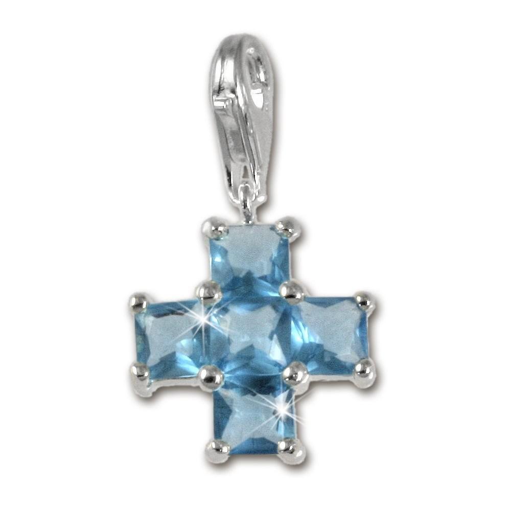 SilberDream 925 Charm Kreuz blau Armband Anhänger FC204B