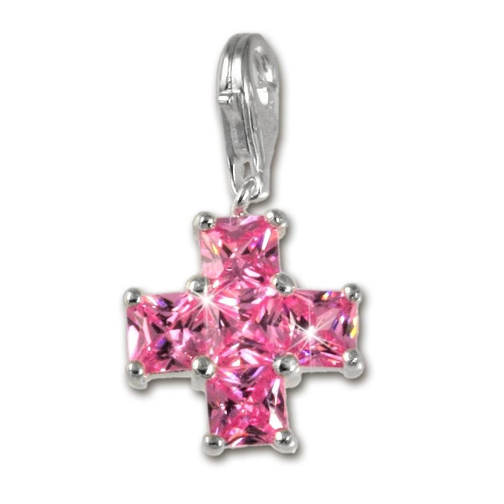 SilberDream 925 Charm Kreuz pink Armband Anhänger FC204P