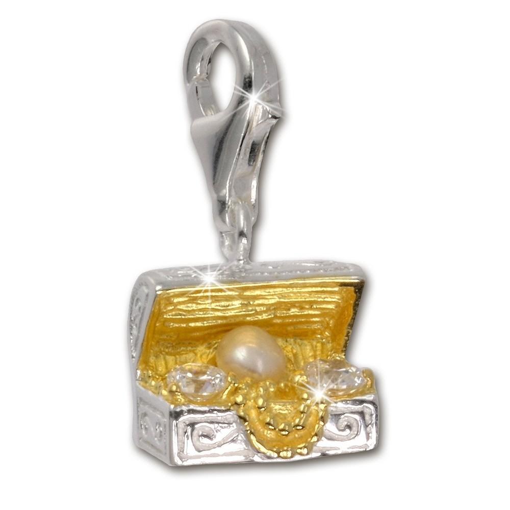 SilberDream 925 Charm Truhe gold Armband Anhänger FC227WZ