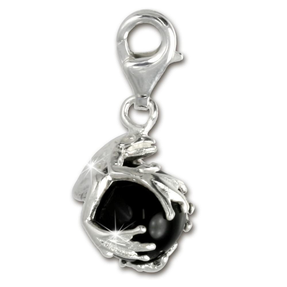 SilberDream 925 Charm Frosch Kugel schwarz Armband Anhänger FC244S