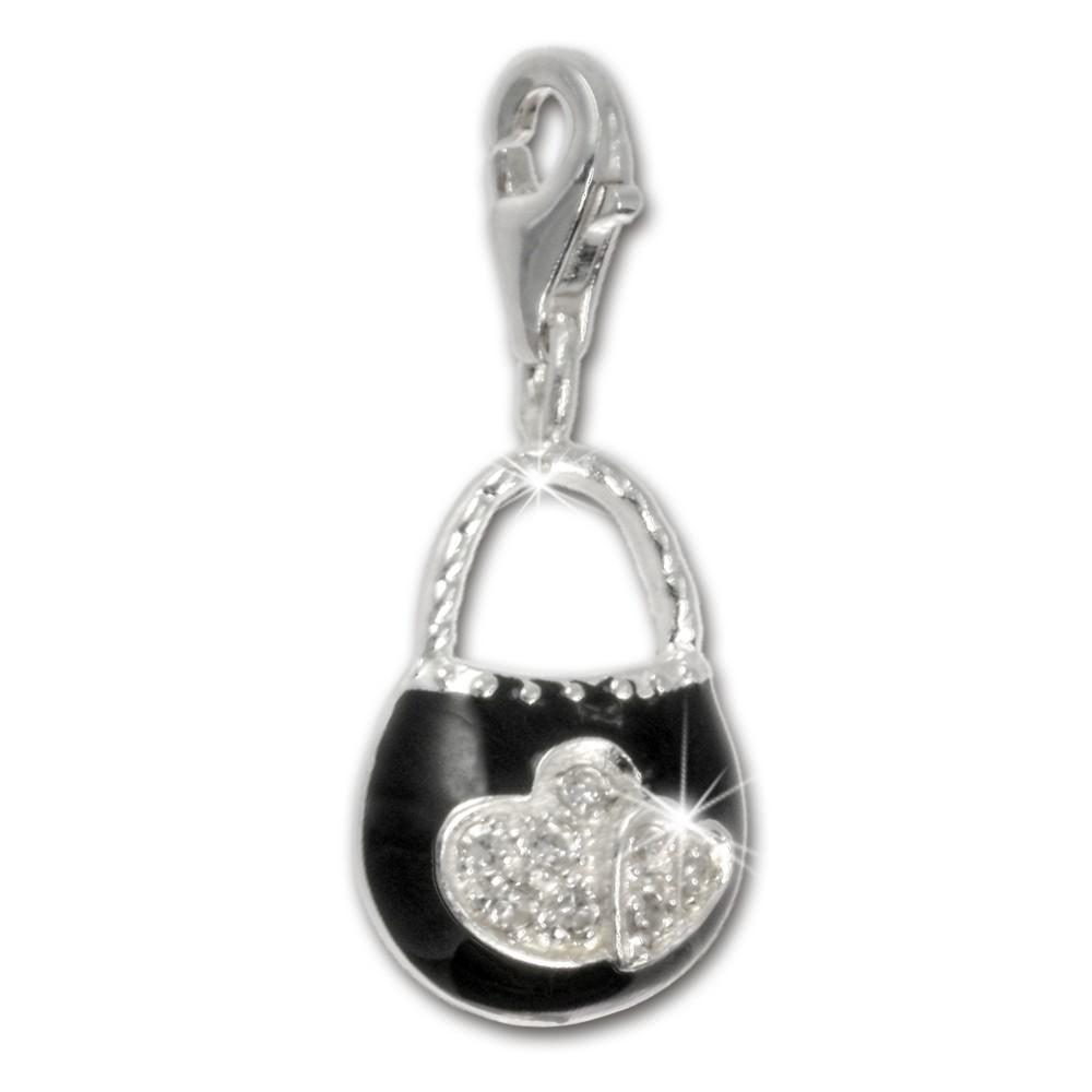 SilberDream 925 Charm Tasche schwarz Armband Anhänger Silber FC3030S