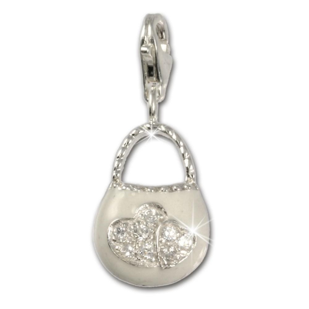 SilberDream 925 Charm Tasche weiß Armband Anhänger FC3030W