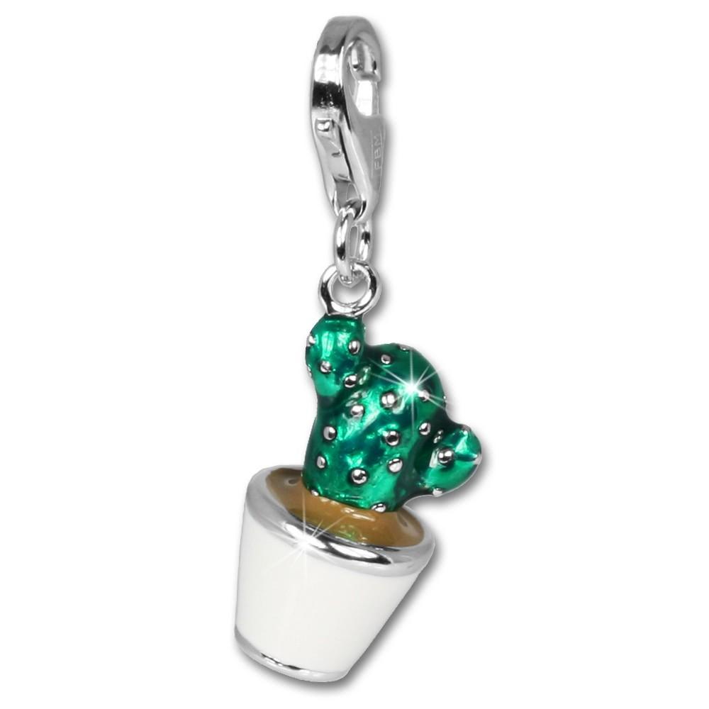 SilberDream 925 Charm Kaktus grün Emaille Armband Anhänger FC611