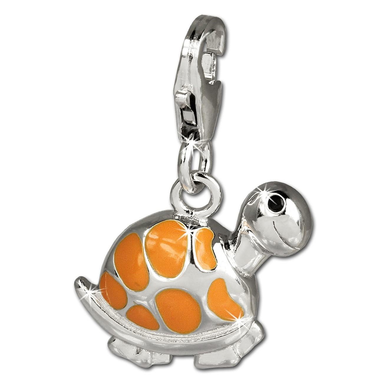 SilberDream Charm Schildkröte orange 925 Silber Armband Anhänger FC655