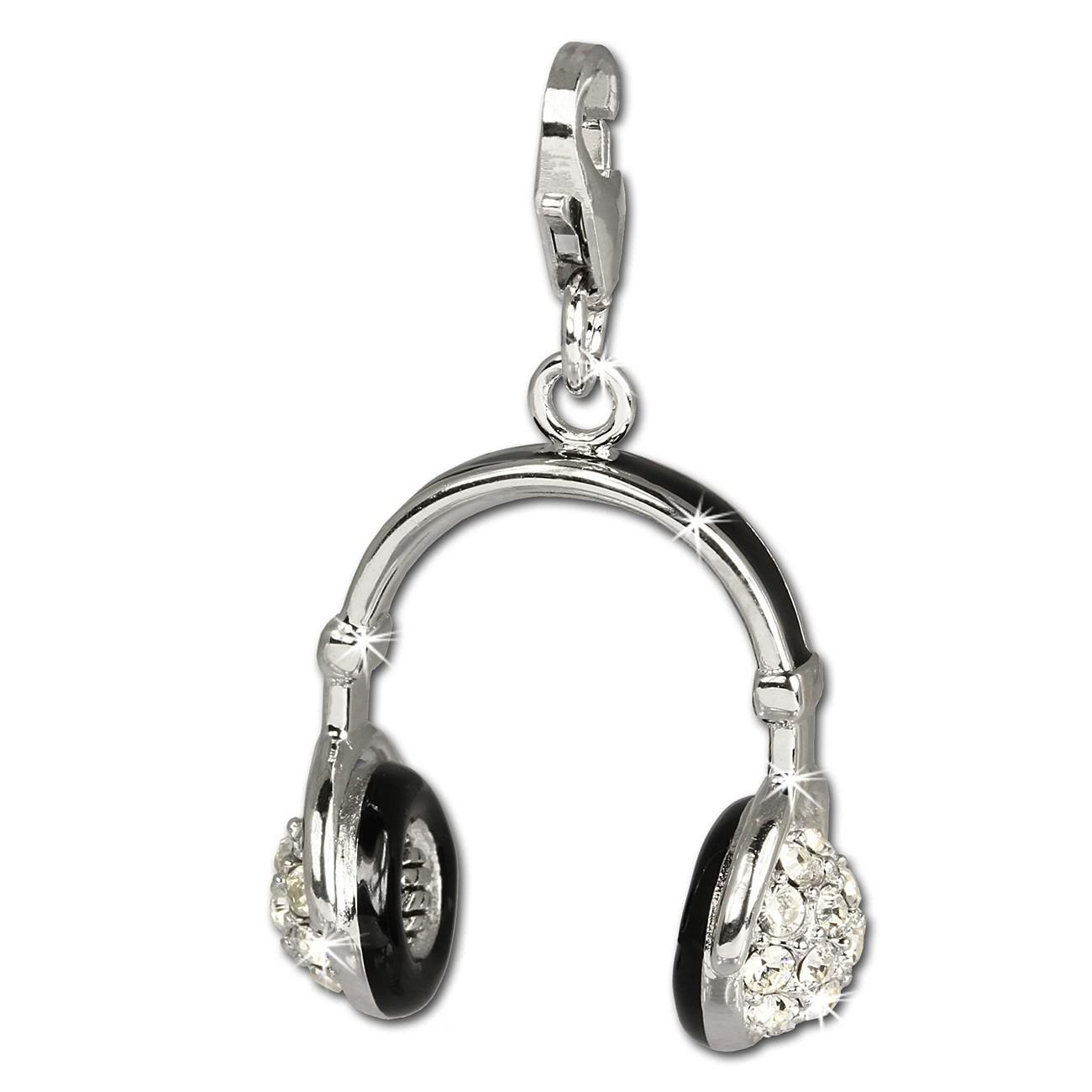 SilberDream Charm Kopfhörer Zirkonia 925 Silber Armband Anhänger FC658